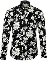 APTRO Men's 100% Cotton Floral Shirt Long Sleeve Flower Shirt Red XXXL