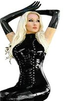 Fashion Queen Women's Gothic Punk Faux Leather Mini Dress Lace-up Stretch Bodycon High Neck Dress