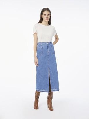 Frame Le Bardot Midi Skirt Raw Hem