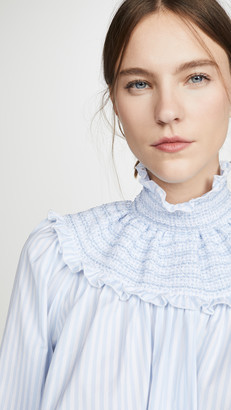 Adam Lippes Smocked Neck Top In Striped Cotton
