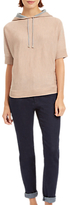 Jaeger Pure Wool Hooded T-Shirt, Dusty Pink