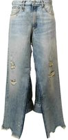 R 13 distressed wide leg jeans