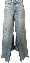 R 13 distressed wide leg jeans