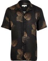 River Island MensGrey leaf print slim fit shirt