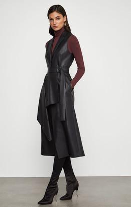 BCBGMAXAZRIA Faux Leather Drape Front Long Vest