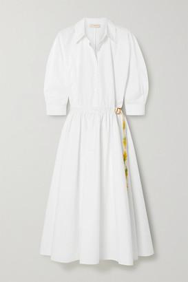 Tory Burch Belted Grosgrain-trimmed Cotton-poplin Shirt Dress - White