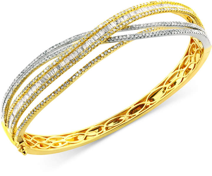 Effy Duo by Diamond Bangle Bracelet (3-1/6 ct. t.w.) in 14k Yellow and White Gold