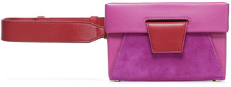 Yuzefi Lola Color-block Suede And Textured-leather Belt Bag