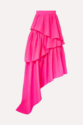 House of Holland Asymmetric Ruffled Ripstop Maxi Skirt - Fuchsia