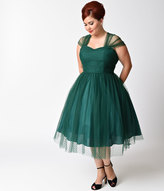 Unique Vintage Plus Size Emerald Green Swiss Dot Garden State Mesh Dress