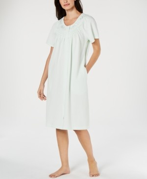Miss Elaine Petite Flower-Embroidery Waffle Knit Gripper Robe