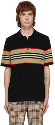 Burberry Black Merino Foxford Icon Stripe Polo