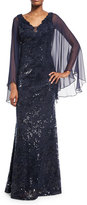 Rickie Freeman For Teri Jon Cape-Sleeve Sequin Leaf Silk Gown, Blue