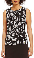 Calvin Klein Abstract Circle Print Pleat Neck Matte Jersey Shell