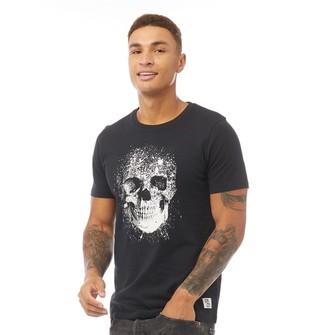 Fluid Mens Skull Print T-Shirt Black/White