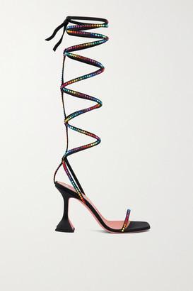 Amina Muaddi + Awge Gladi Crystal-embellished Satin Sandals - Black