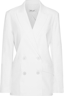 Diane von Furstenberg Madison Double-breasted Linen-blend Blazer