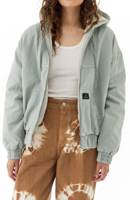 BDG Hooded Canvas Bomber Jacket