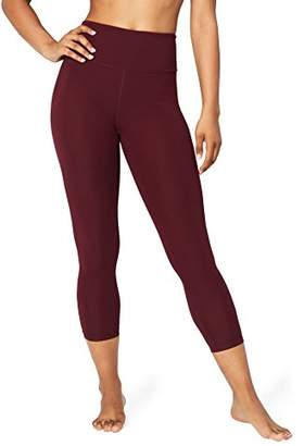 "Core 10 Women's High Waist 7/8 Yoga Crop 24"" Leggings, Red (), Medium"