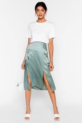 Nasty Gal Womens Sleek a Little Louder Jacquard Midi Skirt - Green - 12