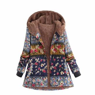 KUDICO Womens Jacket Coat Hooded Boho Vintage Parka Floral Print Pocket Button Ethnic Style Coat Oversize UK Size 12-14(Blue