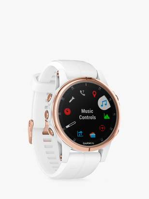 Garmin fenix 5S Plus Sapphire GPS Multisport Watch, Rose Gold with White / Rose Gold Band, 4.2cm
