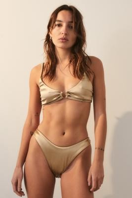 TWIIN Voyager Metallic Ring Bikini Top - Gold XS at Urban Outfitters