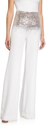 Sachin + Babi Pia Sequin Embellished High-Waist Wide Leg Pants