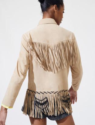 Maje Fringed suede jacket
