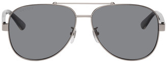 Gucci Gunmetal and Black Aviator Sunglasses