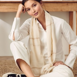 The White Company Wool Stripe Detail Scarf, Ivory, One Size