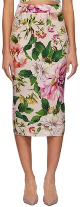 Dolce & Gabbana Pink Crepe Floral Skirt