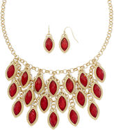 MIXIT Mixit Red Cabochon Earring and Shaky Necklace Set