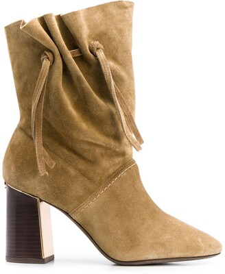 Tory Burch Gathered Block Heel Boots