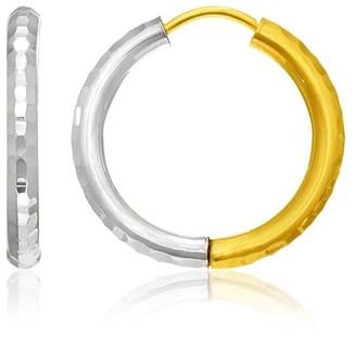 Mayamila 14k Two-Tone Gold Hinge Hammered Hoop Earrings