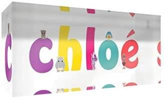 Chloé Little Helper Souvenir Decorative Polished Clear Acrylic Diamond Style Example with Girl's Name 5 x 15 x 2 cm Small Multi-Coloured
