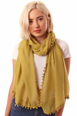 Style Slice PomPom and Tasseled Scarves for Women Lightweight Thick and Warm Colourful and Trendy Fashion Scarfs Long Wrap Shawl or Sarong Clearance
