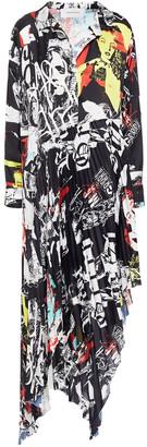 Marques Almeida Asymmetric Pleated Printed Crepe De Chine Midi Dress