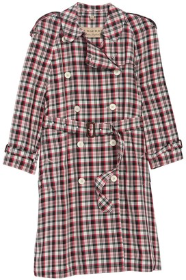 Burberry Delilah Plaid Double Breasted Coat