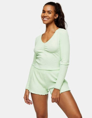 Topshop rib long sleeve striped pajama set in apple green