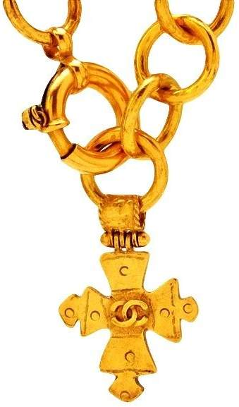 Chanel CC Logo Gold Tone Metal Cross Necklace