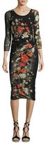 Fuzzi 3/4-Sleeve Ruched Floral Tulle Sheath Dress, Black Pattern