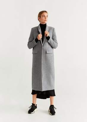 MANGO Structured wool coat light heather grey - M - Women