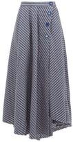 Vika Gazinskaya Asymmetric Houndstooth Wool Midi Skirt - Womens - Blue Multi