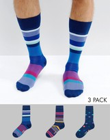 Paul Smith 3 Pack Spots And Stripes Socks In Navy