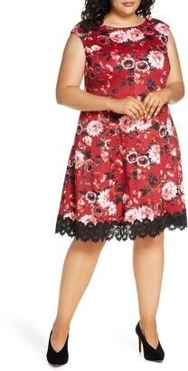 Donna Ricco Floral Cap Sleeve Lace Hem Dress