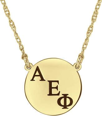 FINE JEWELRY Personalized Greek Letters 16mm Circle Pendant Necklace