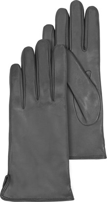 Forzieri Dark Gray Leather Women's Gloves w/Cashmere Lining