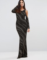 Club L Cold Shoulder Maxi Dress In Glitter Stripe