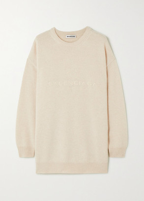 Balenciaga Oversized Embroidered Cashmere Sweater - Beige